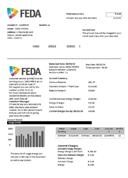 Andorra ELECTRIC FORCES OF ANDORRA utility bill template in word format (customization involved)