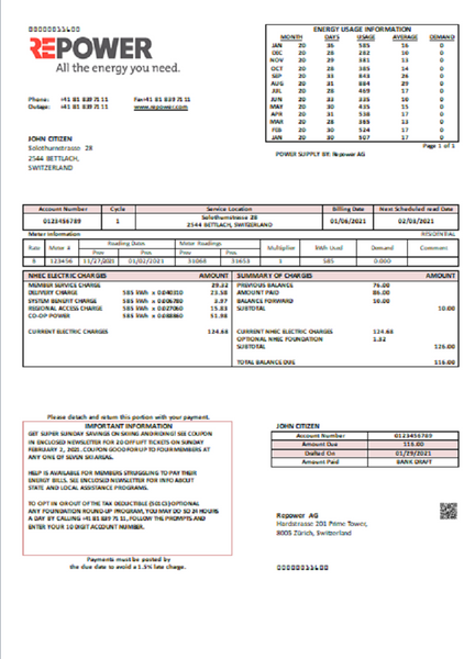 Switzerland Repower AG utility bill template fully editable in word format (includes free editing)