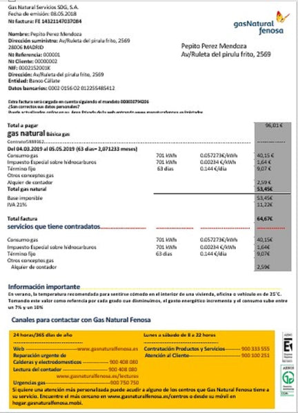Spain gasNatural fenosa utility bill template in word format (includes free editing)