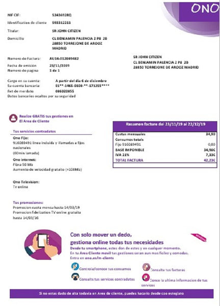 Spain ONO easy fillable utility bill template in word format (doc) (customization included)