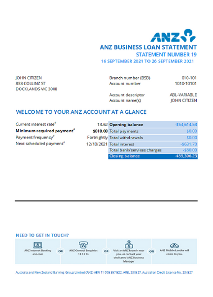 Australia ANZ bank statement template in excel format (free modification)