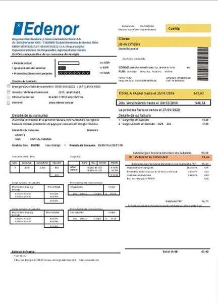 Argentina Edenor easy to fill utility bill template in word format (doc) (adjusting counted)