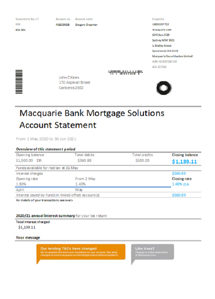 Australia Macquire Bank statement easy to fill template in excel format (editing for free)