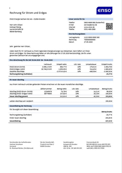 Germany ENSO rechnung für strom und erdgas utility bill template in word format (customizing from us)
