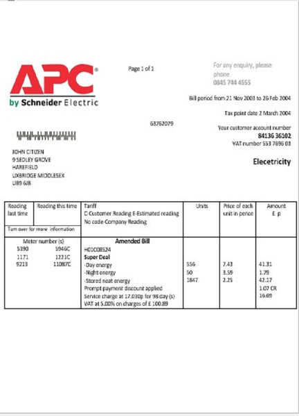 United Kingdom APC electricity utility bill template in word format (editing from us included)