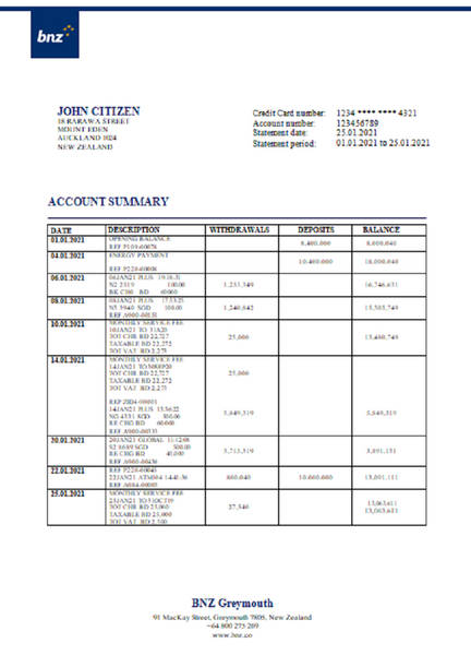 New Zealand BNZ Greymouth bank statement template in word format (free editing)