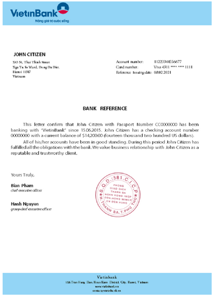 Vietnam Vietinbank bank reference template in .doc and .pdf file format (free modification)