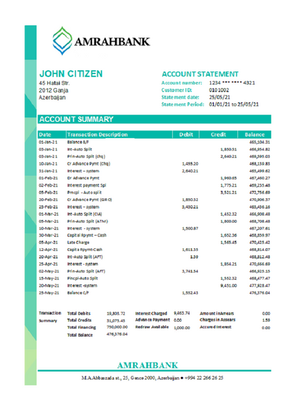 Azerbaijan Amrahbank bank statement easy to fill template in excel format (editing for free)