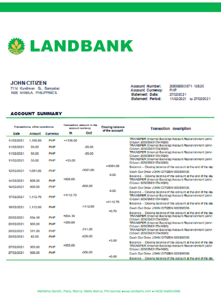 Philippines Land Bank of the Philippines proof of address bank statement template in word format (free editing)