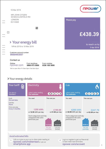 United Kingdom Npower utility bill template fully editable in PSD format (customizing comprised)