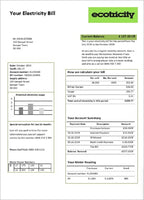 United Kingdom Ecotricity electricity utility bill template in word format (doc) (includes free editing)