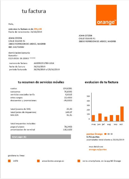 Spain Orange easy fillable utility bill template in word format (doc) (adjusting counted)