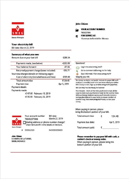 Monaco SMEG electricity utility bill template in word format (customizing from us)