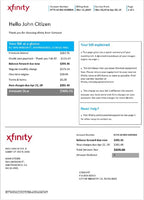 USA California San Francisco Xfinity Comcast utility bill template in word format (modifying included)