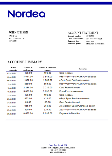 Sweden Nordea Bank AB bank statement easy to fill template in doc format fully editable (editing from us included)