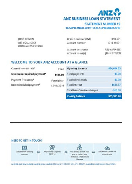 Australia ANZ proof of address bank statement template in word format (editing for free)