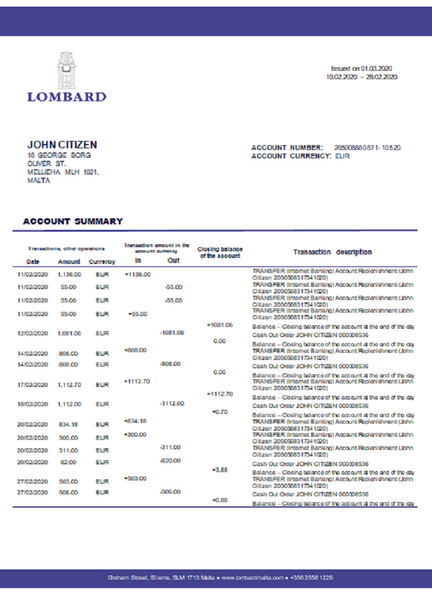Malta Lombard Bank Malta p.l.c bank statement template in word format (free modification)