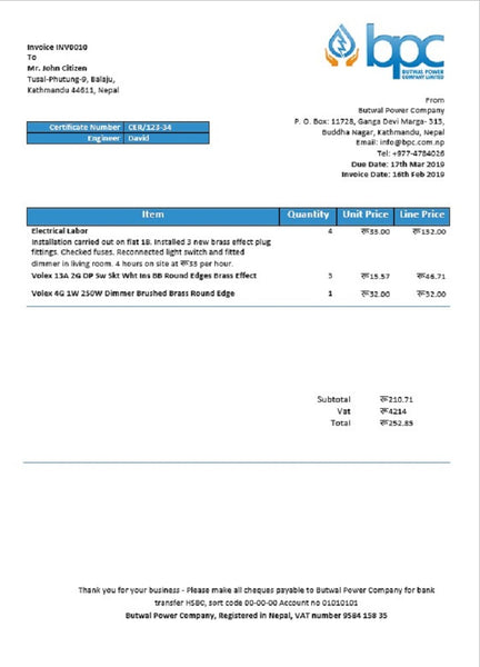 Nepal Butwal Power Company Limited electricity utility bill template in word format (customizing comprised)