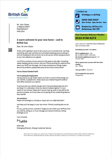 United Kingdom British Gas utility bill template in word format, Version 2 (includes free editing)