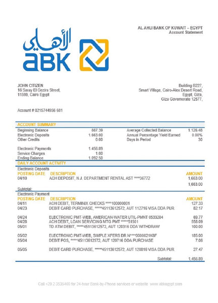 Egypt Al Ahli Bank of Kuwait bank statement easy to fill template in word format (free modification)
