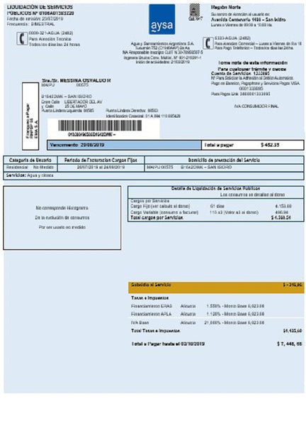 Argentina water utility bill template Aysa in word format (doc) (customizing from us)