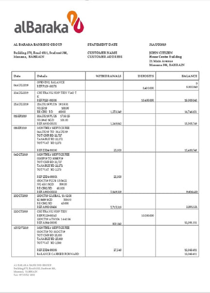 Bahrain Al Baraka bank statement template in word format (includes free editing)