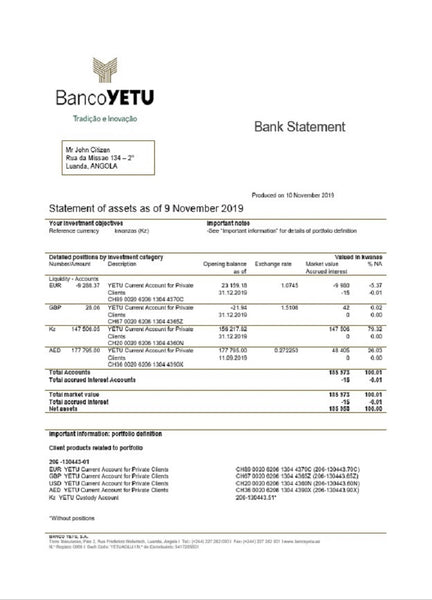 Angola Banco Yetu bank statement easy to fill template in word format (editing for free)