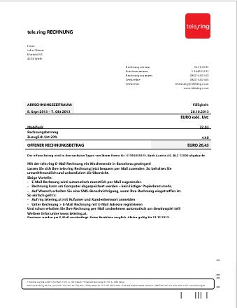 Sweden Tele Ring utility bill template in word format (customizing comprised)