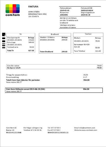 Sweden Com Hem utility bill template in word format (customizing from us)