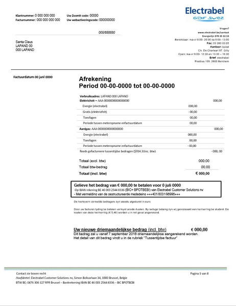Belgium Electrabel electricity utility bill template fully editable in word format (customizing from us)
