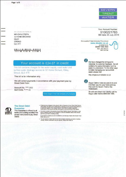United Kingdom Severn Trent Water utility bill template fully editable in PSD format  (customization included)