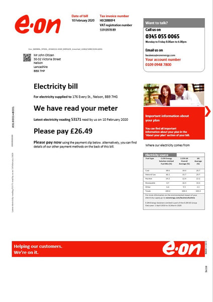 United Kingdom E.ON utility bill template version 3 in word format (building content counted)