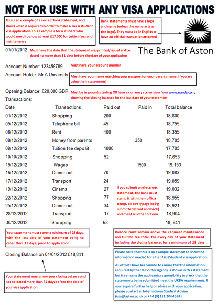 United kingdom The Bank of Aston bank statement template in word format (editing for free)
