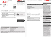 United Kingdom E.ON electricity utility bill template in word format, 2 pages, version 1 (customization included)