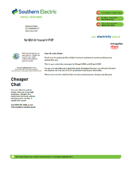 United Kingdom Southern Electric proof of address utility bill template in word format (customizing from us)