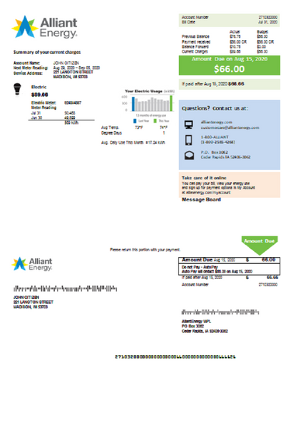 USA Wisconsin Alliant Energy electricity utility bill template in Word format