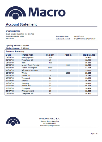 Argentina Banco Macro S.A. bank statement template in word format (modification for free)