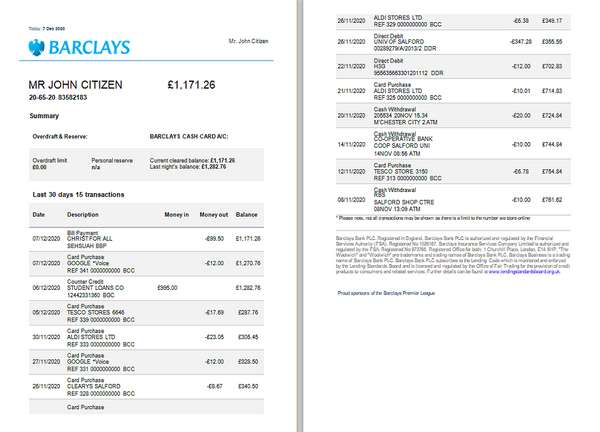 United Kingdom Barclays bank statement template in Excel and PDF format, version 3 (2 pages) (editing for free)