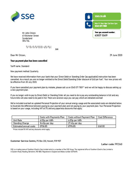 United Kingdom SSE Energy utility bill template in word format, version 1 (editing from us included)