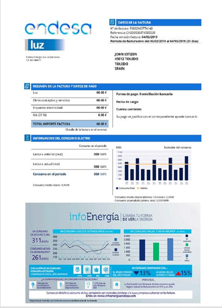 Spain Endesa luz utility bill template in (customizing comprised)