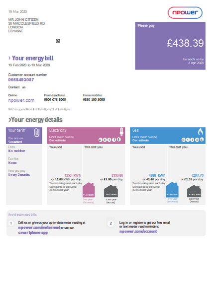United Kingdom Npower utility bill template in word format (includes free editing)