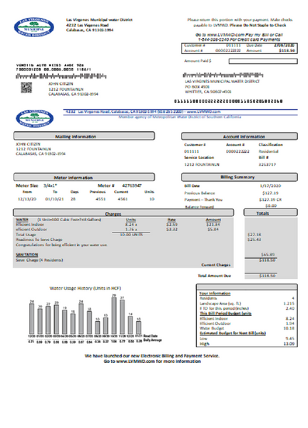 USA California Las Virgenes Municipal Water District utility bill template in word format (customizing from us)