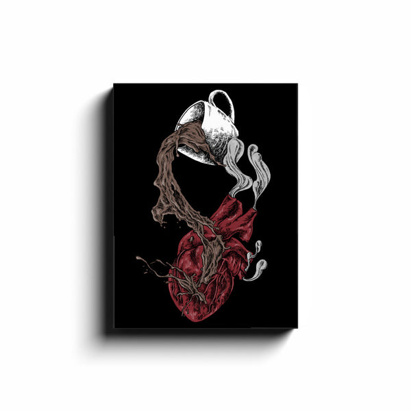Heartburn Wall Art Coffee Dark Art For Halloween And Fall Canvas Wrap