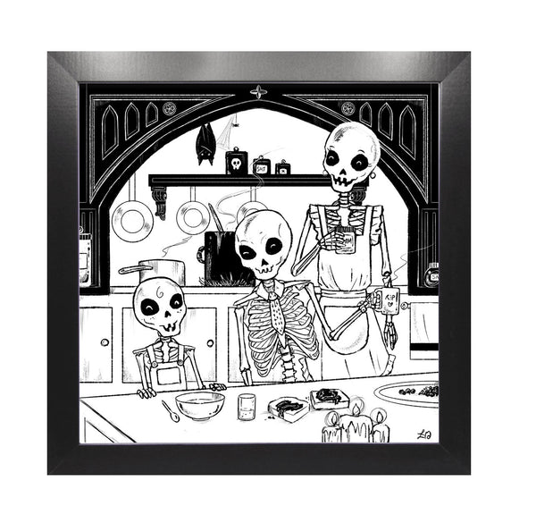 Halloween Skeleton Family Framed Print For Your Kitchen