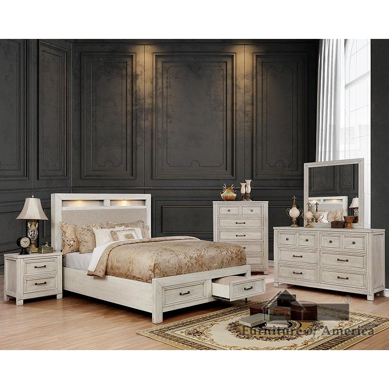 Tywyn Antique White King Bed