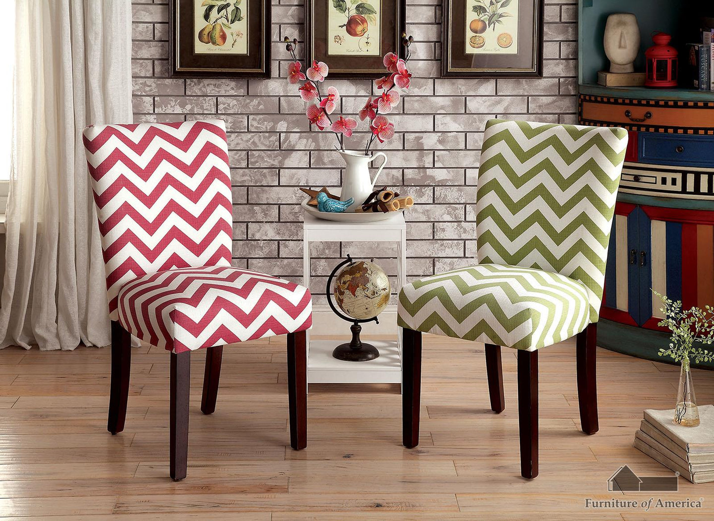 Capri Iii Green Chevron Pattern Chair