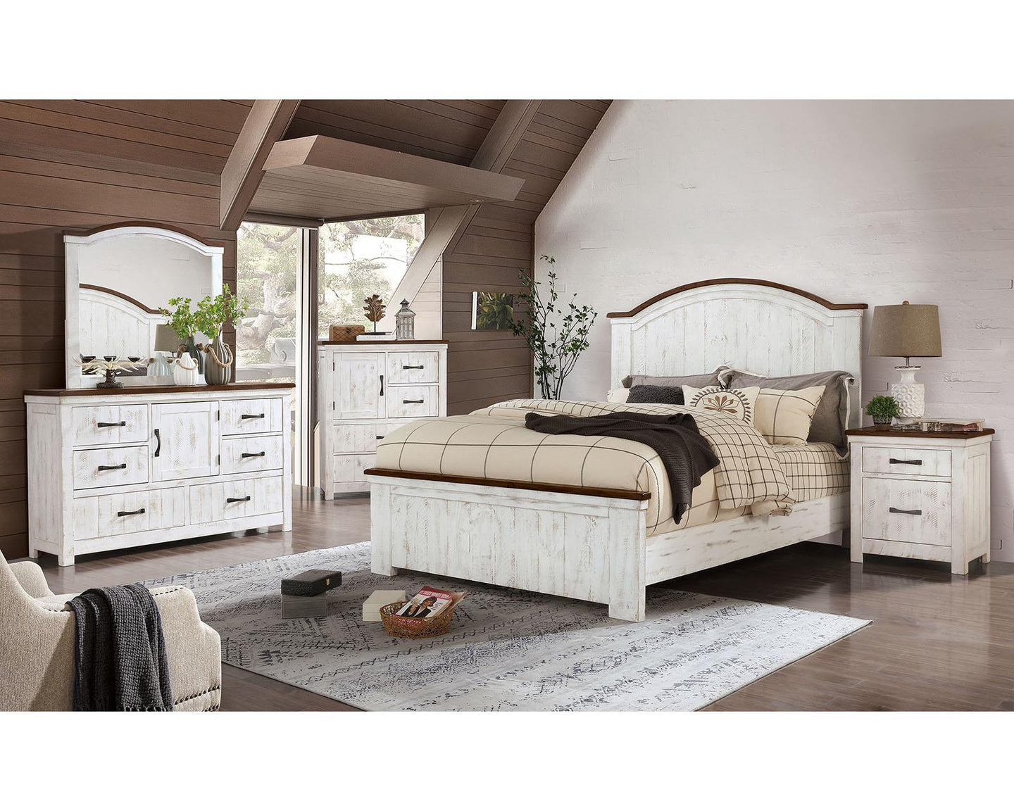 Alyson Distressed White/walnut King Bed