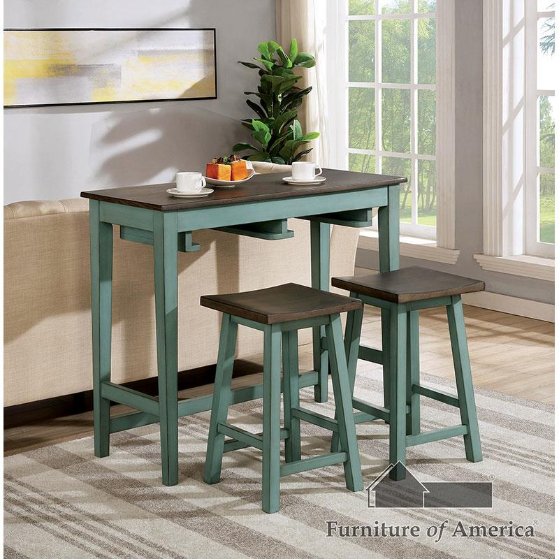 Elinor Anitque Teal/gray Bar Table Set