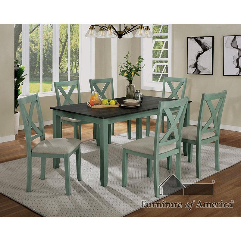 Anya Distressed Teal/distressed Gray 7 Pc Dining Set