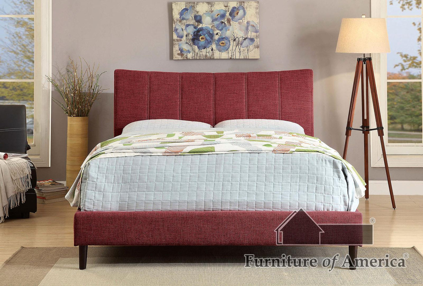 Ennis Red King Bed
